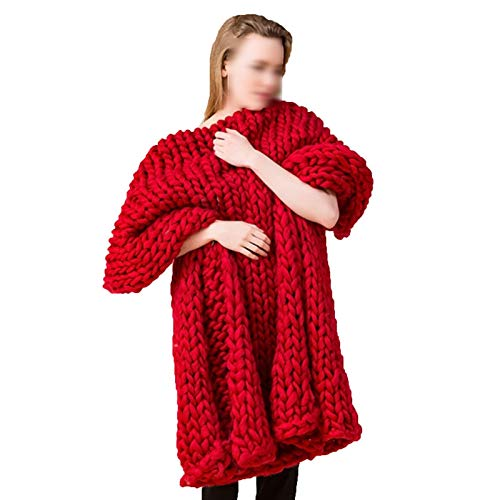 ZWDM Manta De Punto Gruesa Hecha A Mano Manta De Punto De Lana para Mascotas Sofá Súper Tejido Manta De Lana Decoración para El Hogar (Color : Red, Size : 150x180cm)