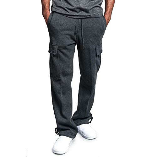 Men's Gym Fitness Workout Pants Bodybuilding Cargo Jogger Pants Chino Trousers Sweatpants Drawstring Working Pants Dark Gray