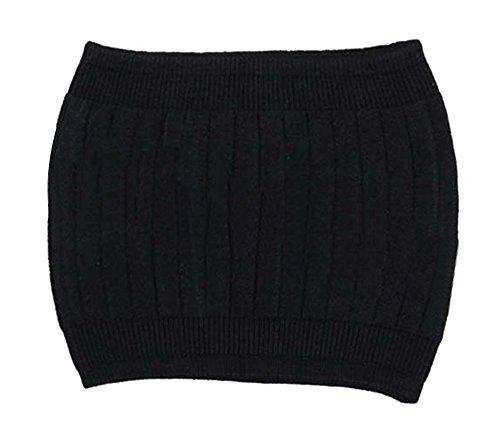 Unisexe Hiver Anti-froid Chaude Reins Ceinture Lombaire Chauffante en Laine Tricoté Crochet Noir
