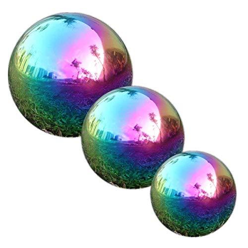 Edelstahl Gartenkugel, GDglobal Spiegelpoliert Hohlkugel Reflektierende Gazing Ball, Schwimmende Teichkugeln Nahtlose Dekokugel Spiegelkugel für Hausgarten Ornament Dekorationen