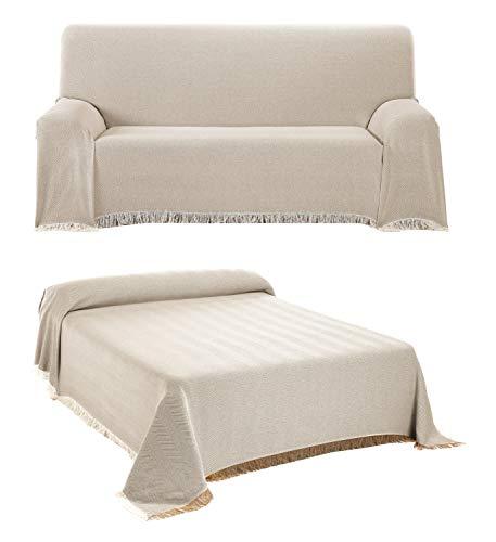 BEAUTEX Tagesdecke - Wohnzimmer Decke aus Baumwolle, Praktischer Überwurf als Sofadecke oder Couchdecke - Bed Throw Blanket - Hochwertiger Bettüberwurf in Beige, 180 x 260 cm