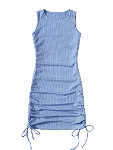 SheIn Women's Ruched Sleeveless Mini Bodycon Dress Drawstring Tie Side Round Neck Short Dresses Dusty Blue Medium
