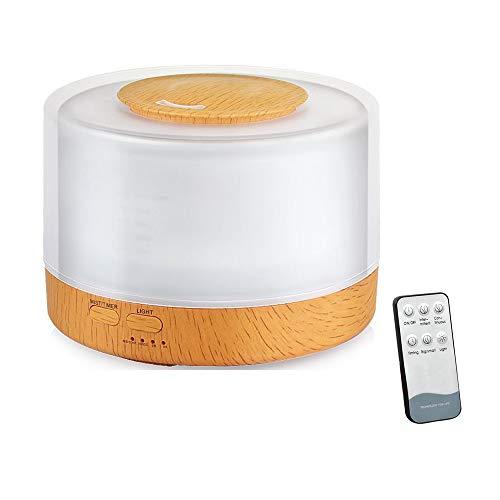 500ml capacidad aroma difusor de aceite esencial, aroma y fragancia ultrasónico humectador aromaterapia con control remoto, temporizador, 7 colores cambiado luz de estado de ánimo