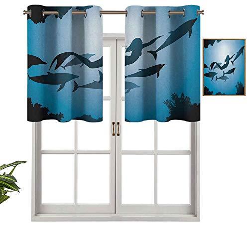 Hiiiman Cortinas opacas con cenefas antirayos UV, diseño de sirena y delfines bajo el agua, para viajes, aletas de buceo, vida marina, juego de 2, 42 x 36 pulgadas para interior, comedor o dormitorio