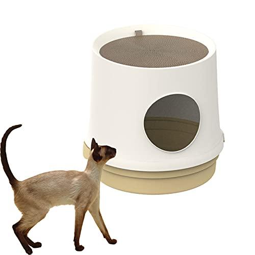 Caja De Arena para Gatos Semicerrada con Agujero En El Árbol, Inodoro para Gatos con Tablero para Raspar, Diseño De 47 Cm De Diámetro, Estructura Simple De Dos Piezas,Beige