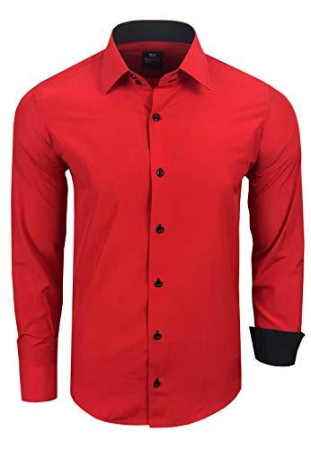 Rusty Neal Herren-Hemd Premium Slim Fit Langarm Stretch Kontrast Hemd Business-Hemden Freizeithemd, Größe S-6XL:4XL, Farbe:Rot