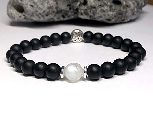 Onyx and Moonstone Bracelet in 6mm or 8mm Bead - Irish Full Moon Bracelet – Black and White Stretch Bracelet with Silver Celtic Knot