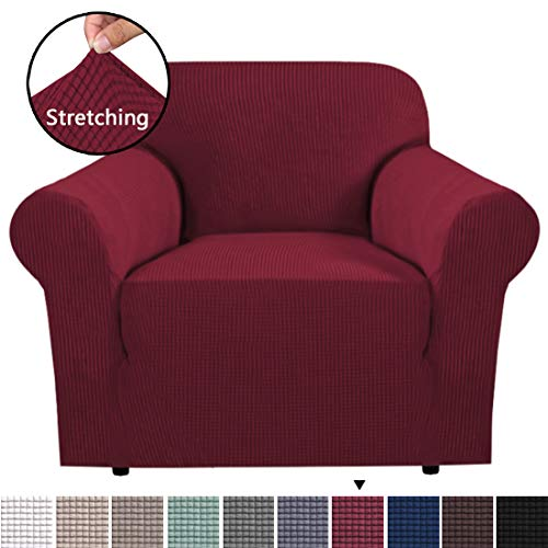 BellaHills Stretchstuhl Couchbezug Möbelschutz, 1-Sitzer-Mantel Sofabezüge Sofabezug für Wohnzimmer Jaquard-Couchbezug, bequem und langlebig (1-Sitzer, Burgunderrot)