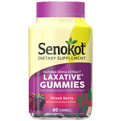 Senokot Laxative Gummies Dietary Supplement for Occasional Constipation Relief, Mixed Berry, 60 Count