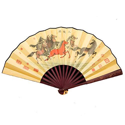 GWXLD – Abanico Plegable, decoración de Pared, Estilo Chino, Mango de bambú...