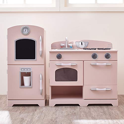 Teamson Kids - Retro Kids Toy Pretend Play Kitchen Playset with Refrigerator. Freezer. Oven and Dishwasher - Pink (2 Pcs)