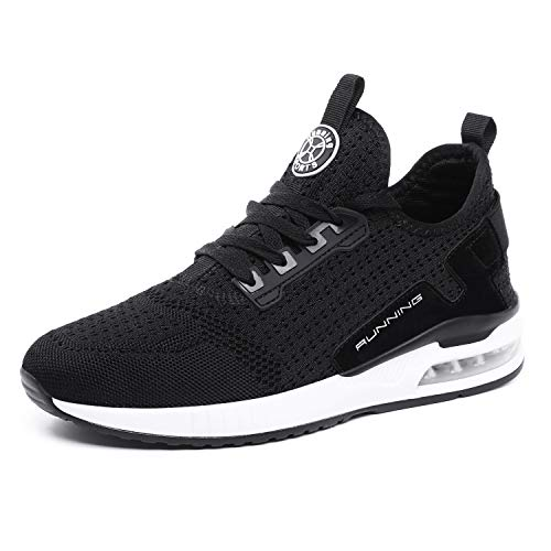 tqgold® Sportschuhe Herren Damen Laufschuhe Sneakers Turnschuhe Gym Fitness Leicht Schuhe(Schwarz,Groß 42)
