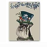 DIY-Sombrero de Setas en la Cabeza de Perro DIY Pintura por Números Pint por Número de Kits for Adultos Mayores Avanzada Niños Joven- sin Marco 30x40cm
