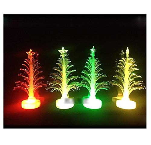 Mini Christmas Tree with Color Changing LED Light - Fibre Optic Artificial Xmas Tree, Home Desktop Decoration Party Wedding Decor Xmas Gift for Kids Girls Boys Adults Bedroom, Living Room (12X7cm)