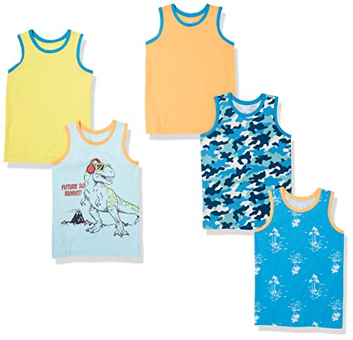 Amazon Essentials Boys Sleeveless Tank Tops T Shirt 5 pack Dinosaur 3 Y Manufacturer Size XS