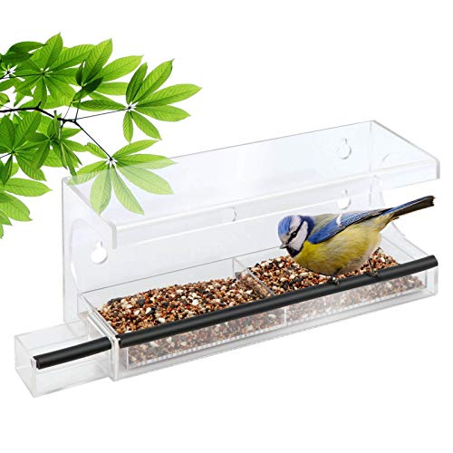 Window Bird Feeder With Suction Cup Seed Water Tray Large Outdoor Hanging Birdhouse Kits For Wild Birds Finch Cardinal Buy Online In Aruba At Aruba Desertcart Com Productid 207216290
