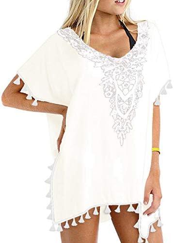 CPOKRTWSO Women s Crochet Chiffon Tassel Swimsuit Bikini Pom Pom Trim Swimwear Beach Cover up product image