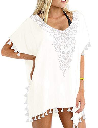 CPOKRTWSO Women's Bathing Suit Cover Up Beach Bikini Swimsuit Swimwear Crochet Dress White L/XL