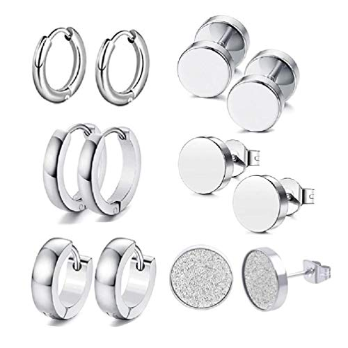 VVXXMO 6 pares de pendientes de acero inoxidable para mujer y hombre, pendientes de roca, decoración de joyas, regalo para amigos, familia, pendientes de plata