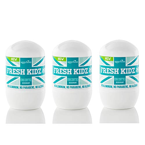 "Keep it Kind Fresh Kidz Natural Roll On Deodorant 24 Hour Protection for Kids & Teens – Unscented Unisex, ""Green"" 1.86 fl.oz. (3 Pack)"