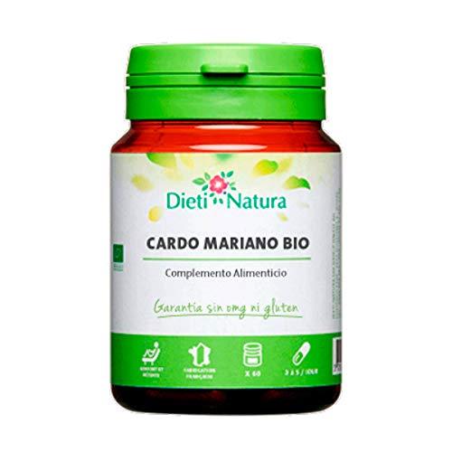 Cardo Mariano Bio 200 cápsulas de Dieti Natura. Protector del hígado [Fabricado en Francia][Certificado ecológico FR-BIO-01][Garantía Sin OGM ni Gluten] (Bote de 200 cápsulas)