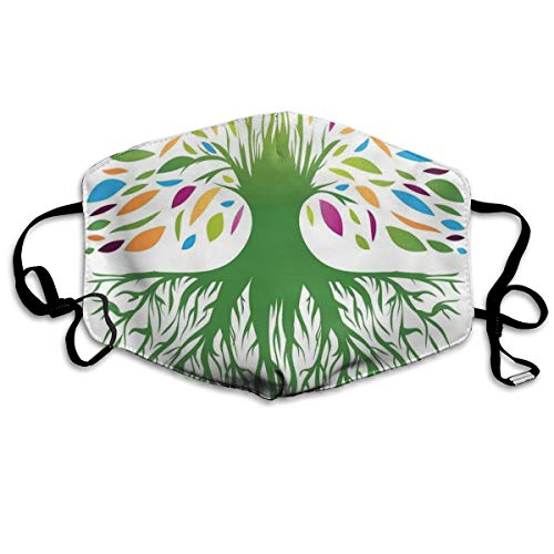 Anti Bacterial Face Pollution Mask,Multi Colored Round Abstract Tree Life And Soul Symbol Eco Nature Design,Mouth Mask comfy polyester