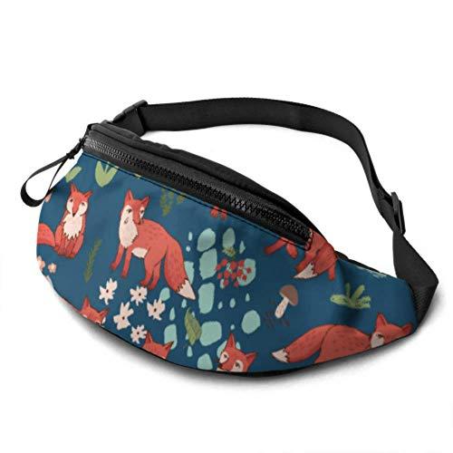 JOCHUAN Packs de Taille Femmes Forest Fox Vector Sac de Taille réglable avec Prise Casque et Bretelles réglables Fanny Packs pour Enfants pour Le Voyage Sports Randonnée