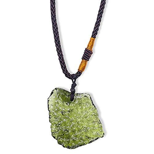 YALANK Collar de cristal Moldavita, piedras irregulares de cristal natural moldivita colgante de piedra de energía de la suerte para hombre y mujer (25-30 g)