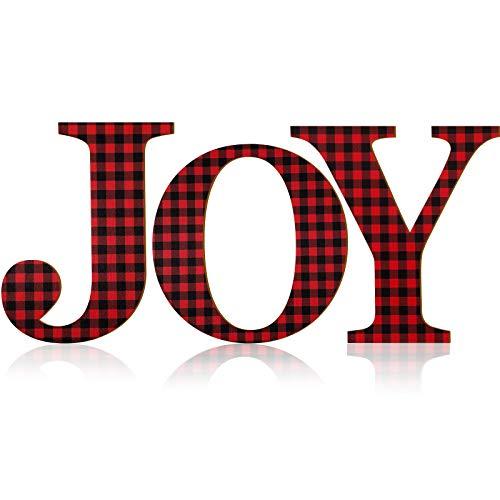 3 Segno Joy Lettera Natale Lettera Plaid Quadri Buffalo 12 Pollici Joy Segno in Legno Larga Ornamenti Vacanza Legno Rustico Porta d'Ingresso Natale Vacanze Interno Casa Decorazioni (Rosso e Nero)