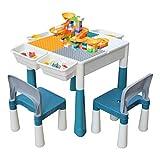 KORIMEFA Juego de Mesa y 2 Sillas Infantiles Mesa de Mesa de Actividades Multiusos Compatible 5 en 1 para niños Mesa de...