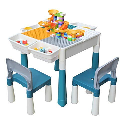 KORIMEFA Juego de Mesa y 2 Sillas Infantiles Mesa de Mesa de Actividades Multiusos Compatible 5 en 1 para niños Mesa de construcción para niños Mesa de Estudio Mesa de Comedor Mesa de Juego