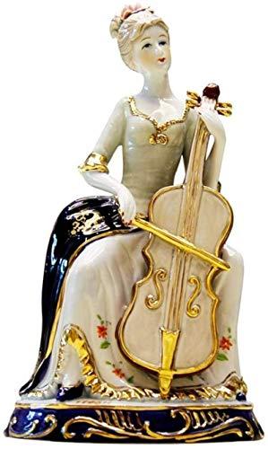 wlsdhjfo Sculpture Stand Sculpture Figurine Statues Decor Cello Female Ornaments Character Porcelain Enamel Color Crafts