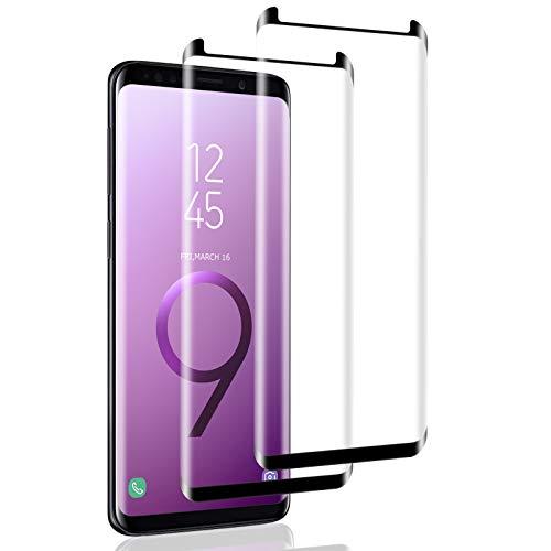 IceboyHHH 2 pièces Verre Trempé pour Samsung Galaxy S9, 3D Incurvé Couverture Complète, Dureté 9H, Sans Bulles, Film de Protection d'Écran pour Samsung Galaxy S9