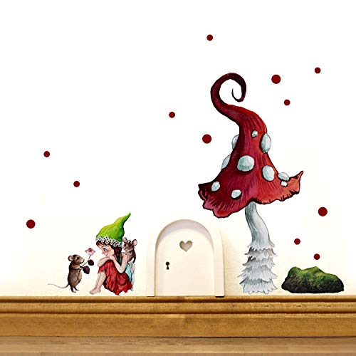 Elfentür Wichteltür kleine Elfe Fee mit Maus & Fliegenpilz Wandtattoo mit rote Punkte e30 - ausgewählte Farbe: *weiß*