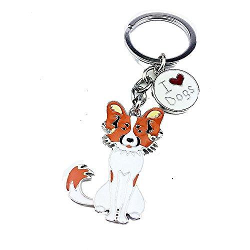 Zoonpark®-Hunde-Schlüsselanhänger, süßer kleiner Hunde-Schlüsselring, aus Metall, Metall, Papillon 2#, Small
