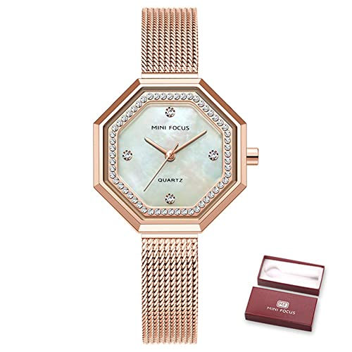 KLFJFD Linglong Shell Rhinestone Nácar Literal 30m Reloj Impermeable Chica Moda Temperamento Correa De Malla De Acero Reloj Señoras Elegante Temperamento Reloj De Cuarzo Regalo De Cumpleaños