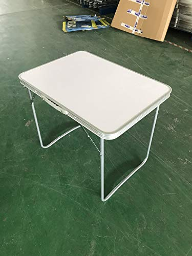 Lucn Folding Camping Table Aluminium Picnic Party Foldable Table Portable Indoor Outdoor Dining Camp Tables Utility BBQ, Unfolding Size 80x60x69cm, White