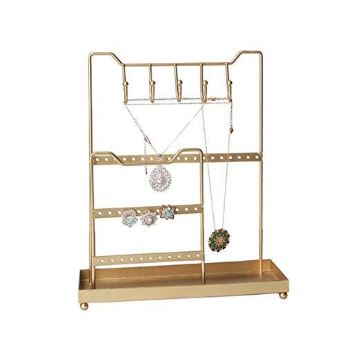 Soporte De Árbol De Joyería De Oro | Organizador De Almacenamiento De 3 Niveles | Percha De Joyería | Pantalla De Sobremesa | Collares, Pulseras, Relojes, Anillos