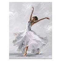 数字油絵 DIYフレームバレエ絵画キャンバスフィギュアオイルペイントバイナンバー塗装DIYギフトホームウォールの装飾 (Color : Brown, Size(cm) : 40x50cm No Frame)