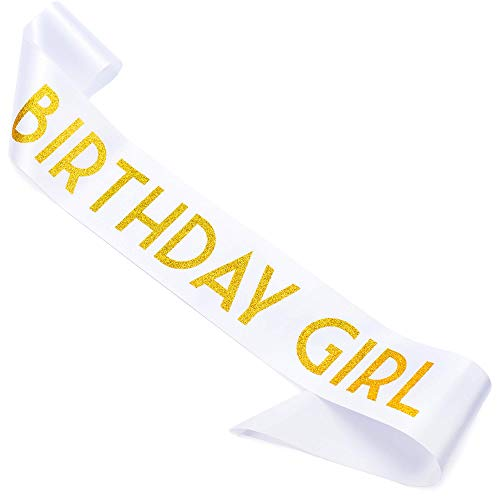 CORRURE 'Birthday Girl' Sash with Gold Glitter - Soft Satin White Sash for Women - Happy Birthday Sash for Sweet 16, 18th 21st 25th 30th 40th 50th or Any Other Bday Party