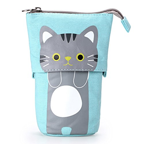 BTSKY Cute Carton Pen Pencil Case- Canvas Pencil Holder Pen Organizer Zipper Stationery Pouch Bag for Students Boys and Girls (Blue)