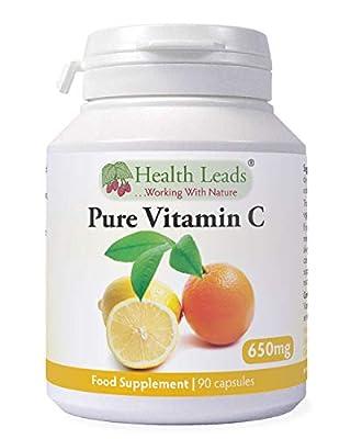 Pure Vitamin C 600mg x 90 capsules - 100% Additive Free by Health Leads UK