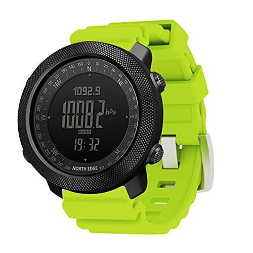 Reloj inteligente para deportes al aire libre, reloj táctico de silicona con altímetro, barómetro, brújula y termómetro, reloj militar impermeable de 50 m, rastreador de fitness multifuncional