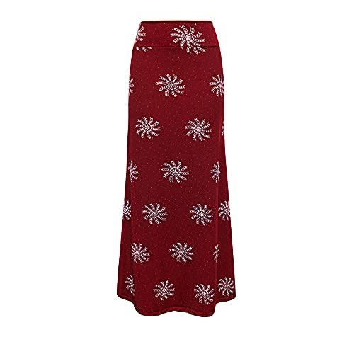 Hiseng Ladies/Womens Tie Dye E-Girl 90S Falda Midi de Cintura Alta Y2K Vintage Slim Fit Falda Gótica de línea (Vino Tinto,S)