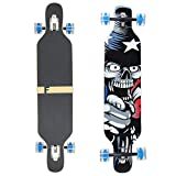 FunTomia Longboard Skateboard Drop Through Cruiser Komplettboard mit Mach1 High Speed Kugellager T-Tool mit und ohne LED Rollen (Mod. Camber - Ahornholz Amerika LED)