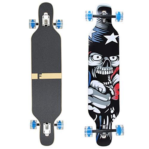 FunTomia Longboard Skateboard Drop Through Cruiser Komplettboard mit Mach1 High Speed Kugellager T-Tool mit und ohne LED Rollen (Flex 3-25 bis 68kg - Ahornholz - Farbe Amerika LED)
