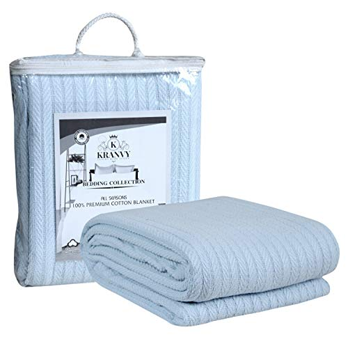 Kranvy Home 100% Soft Premium Cotton Thermal Blanket/Throw Lightweight and Breathable Loom Weave - Perfect for Layering Any Bed for All-Season - Light Blue -Queen Size (90 x 90 Inch)