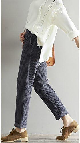OCHENTA Femme Pantalon Velours C/ôtel/é Cordon de Serrage Automne