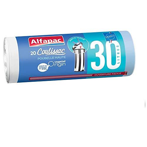 Alfapac - 20 Sacs 30l À Lien Coulissant - Sacs Poubelle Poubelle Haute Hd - Vegetal Origin - Sacs Blancs De Dimensions 48 X 75 Cm.
