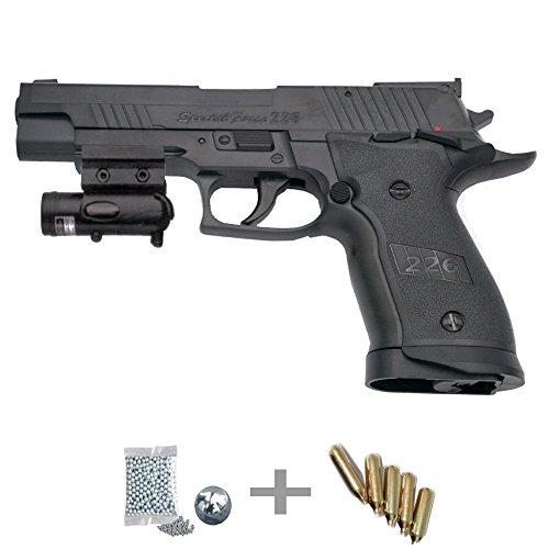 KIT WG Special Force 226 LÁSER - Pistola de aire comprimido (CO2) y balines de acero (perdigones BBS) calibre 4.5mm. Réplica + accesorios <3,5J